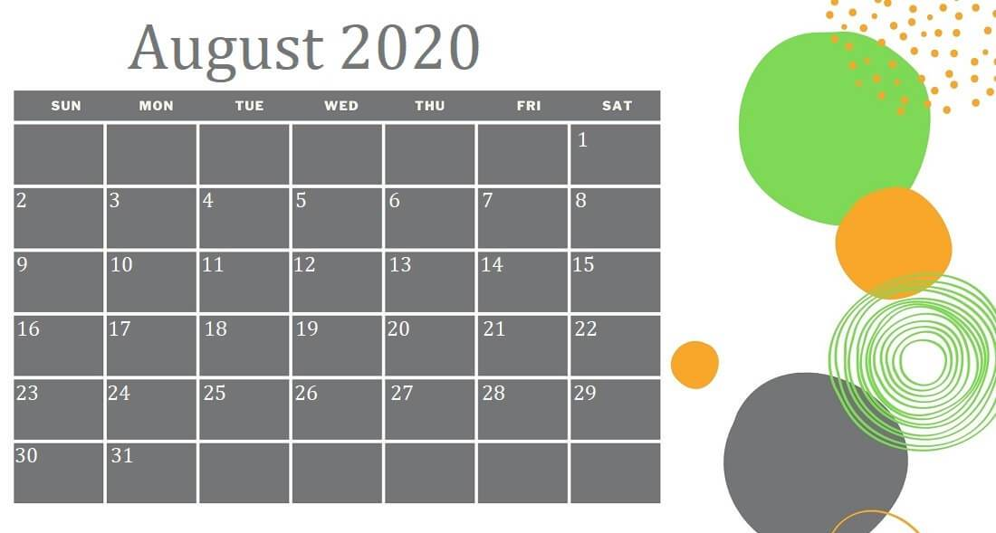 Decorative August 2020 Calendar Template