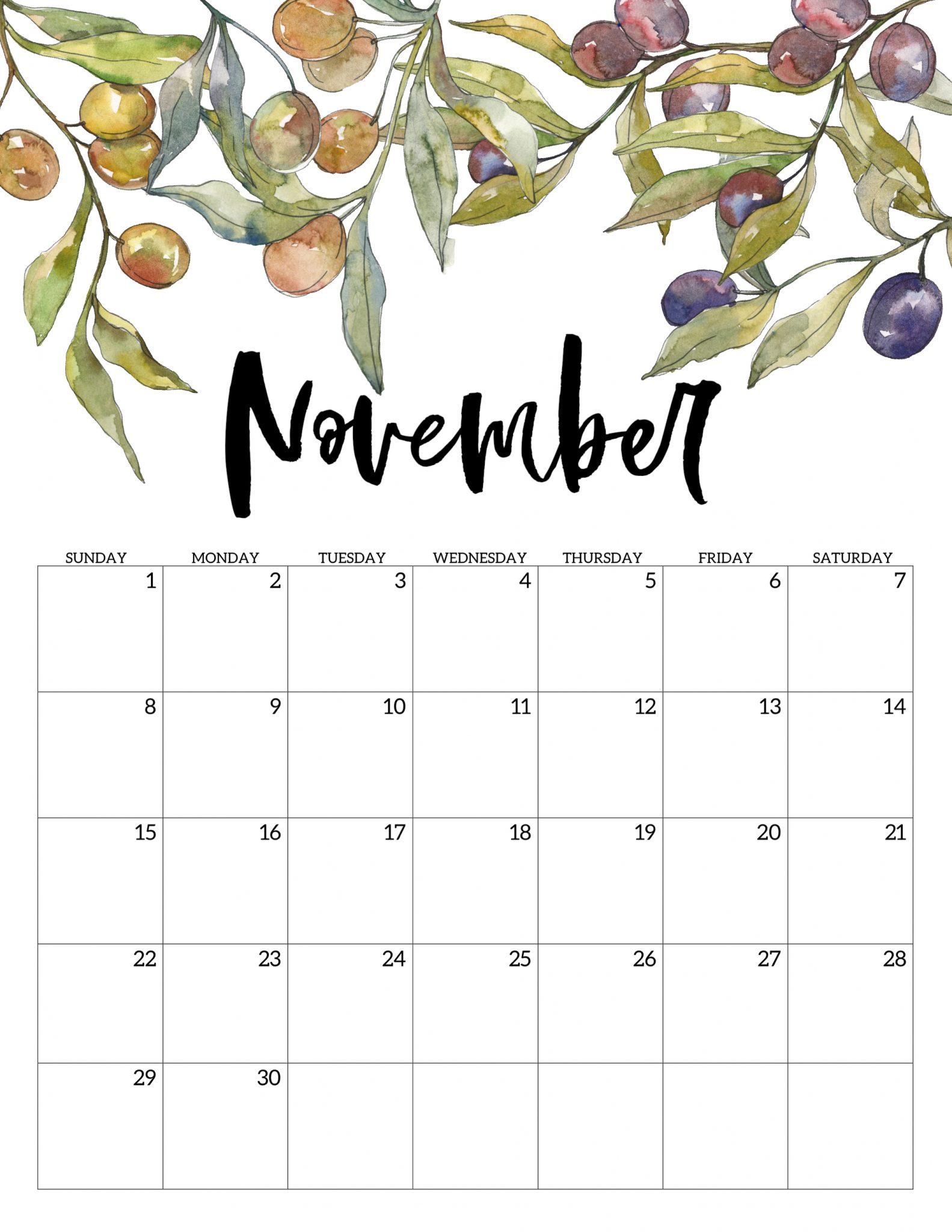 Decorative November 2020 Calendar Cute