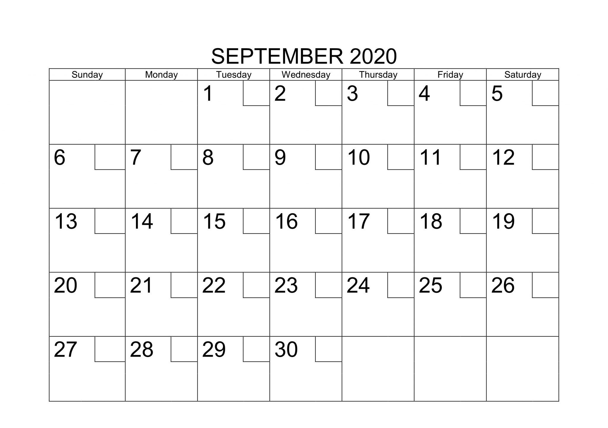 Decorative September 2020 Calendar