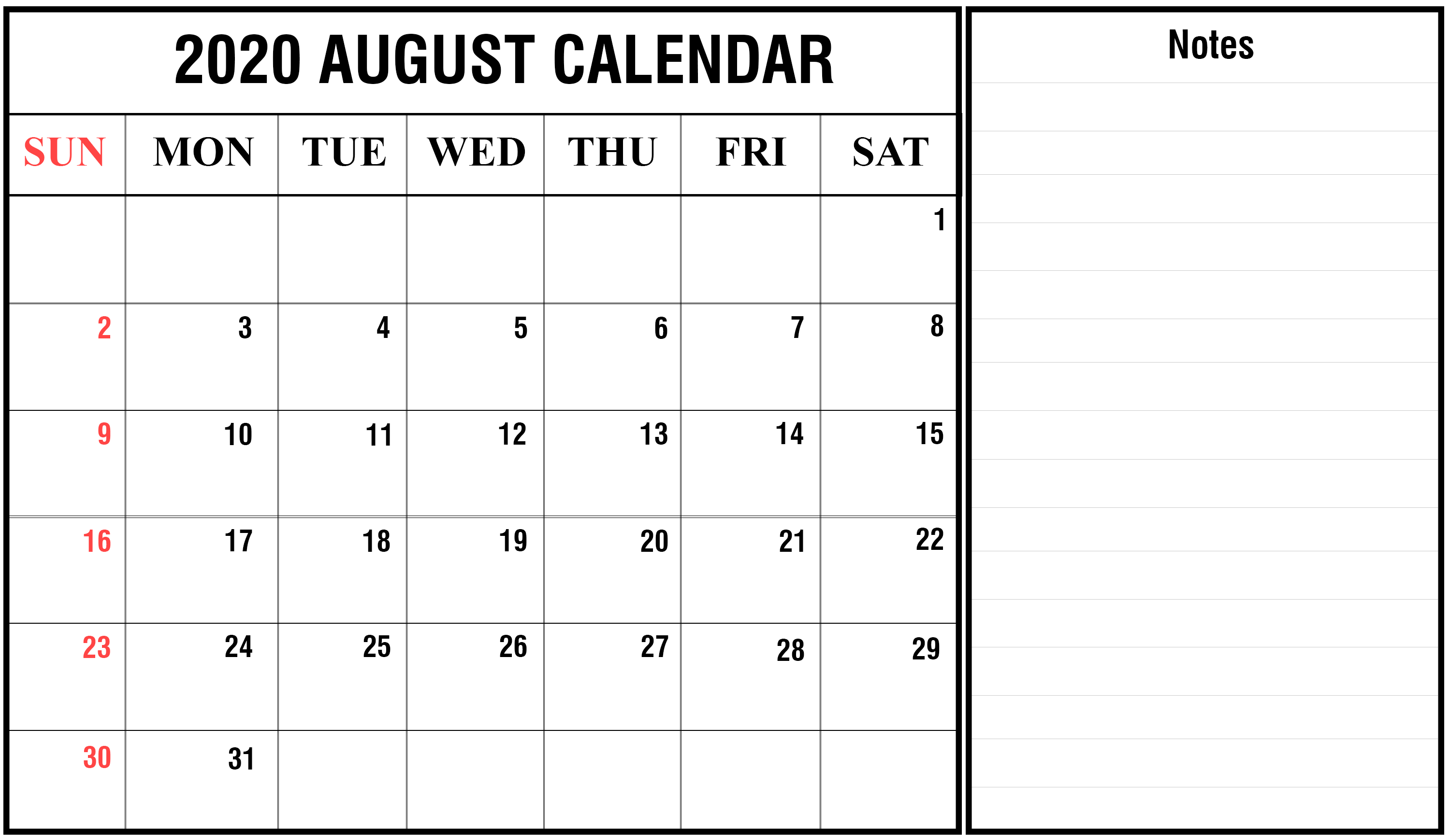Editable August 2020 Calendar with Notes