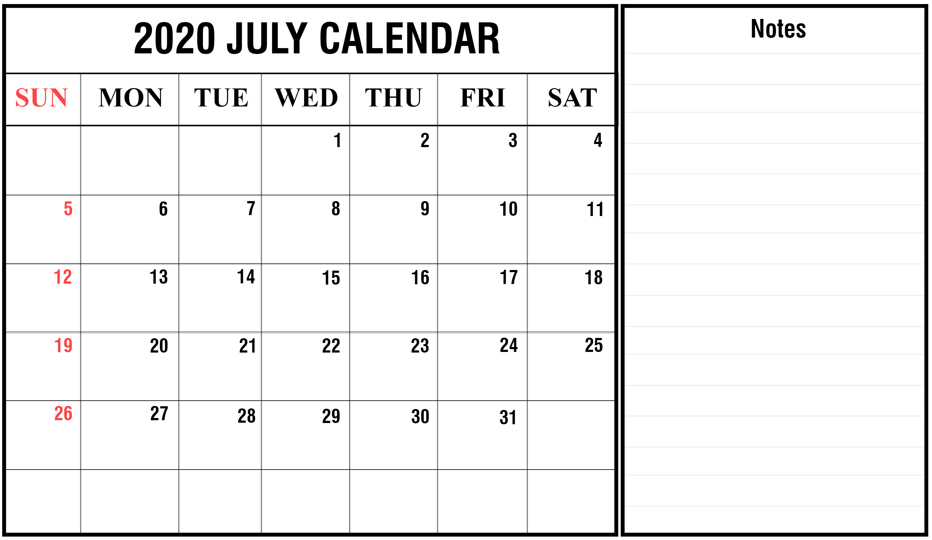 Editable July Calendar 2020 with Notes