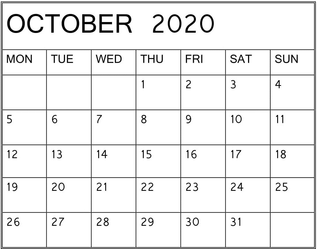 Editable October 2020 Calendar Word