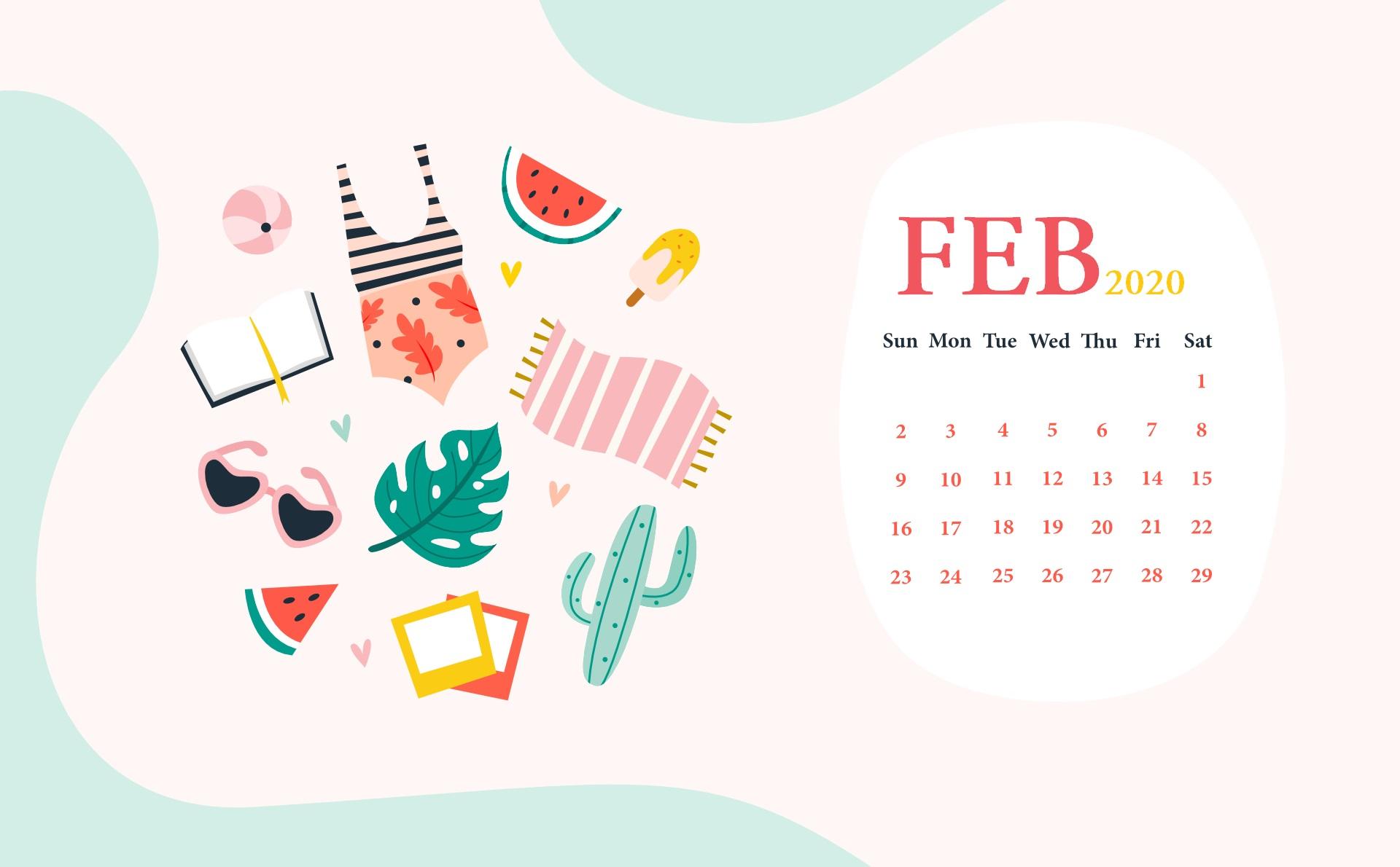 February 2020 Screensaver Calendar