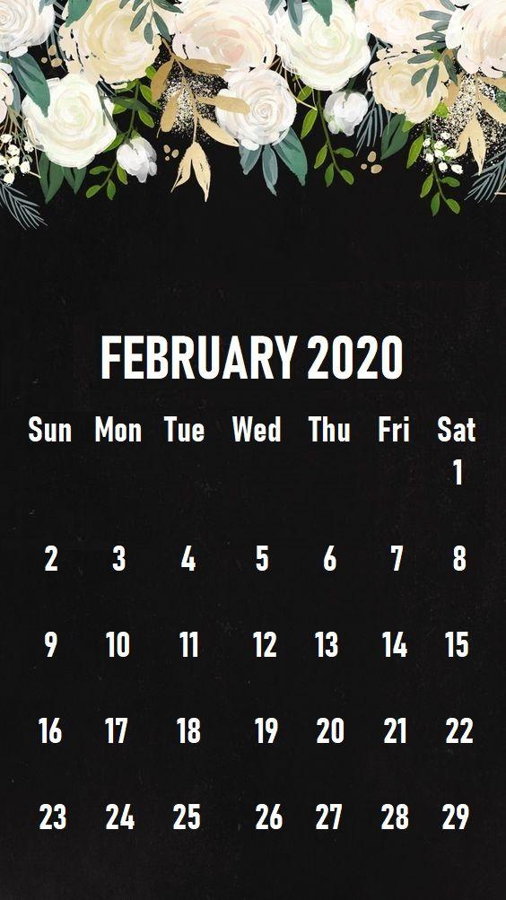 Floral February 2020 iPhone Calendar Wallpaper