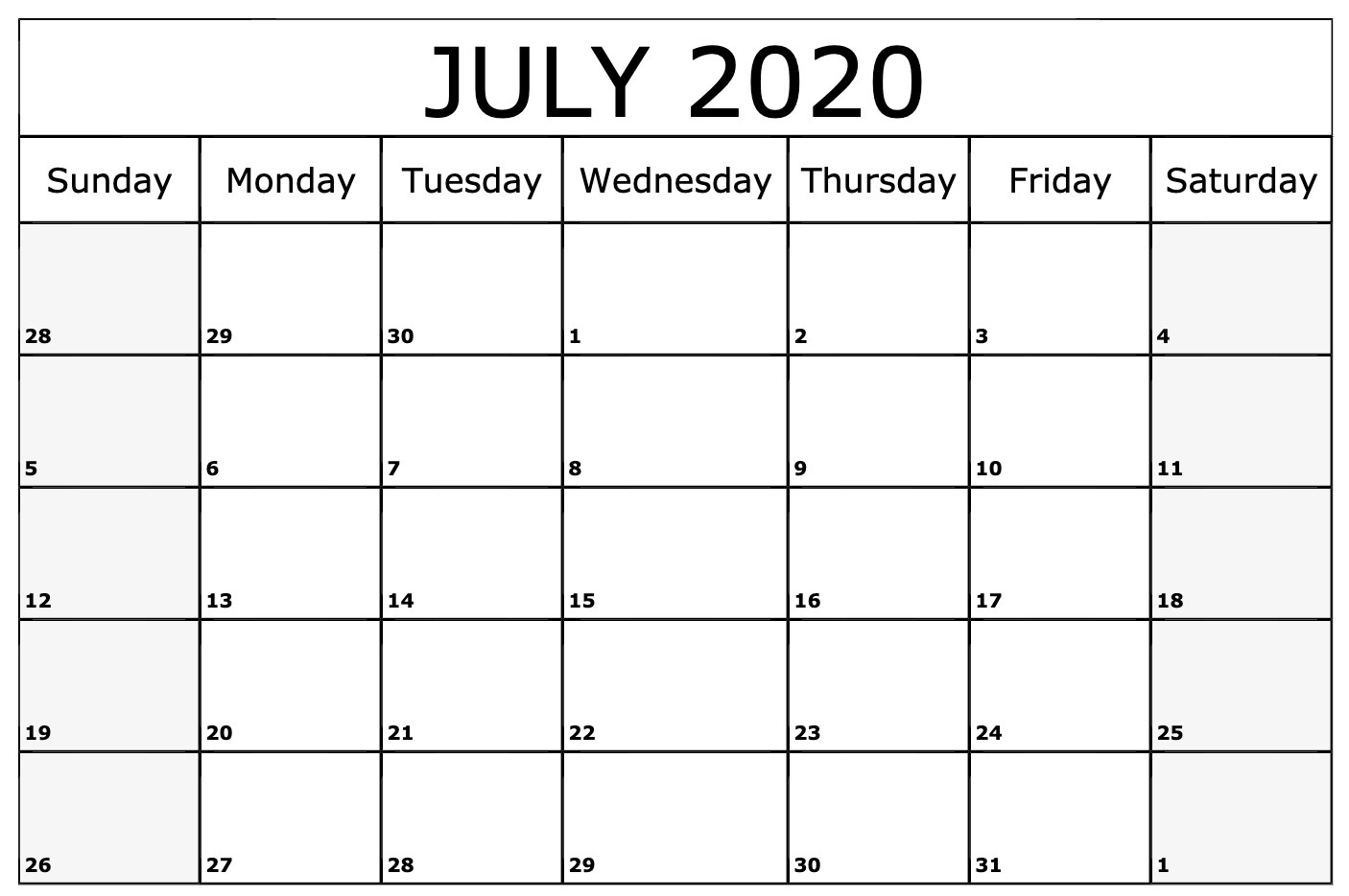 Free Blank July 2020 Calendar