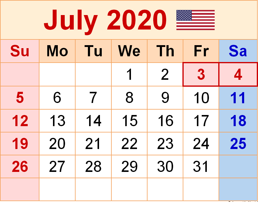 July 2020 USA Holidays Calendar