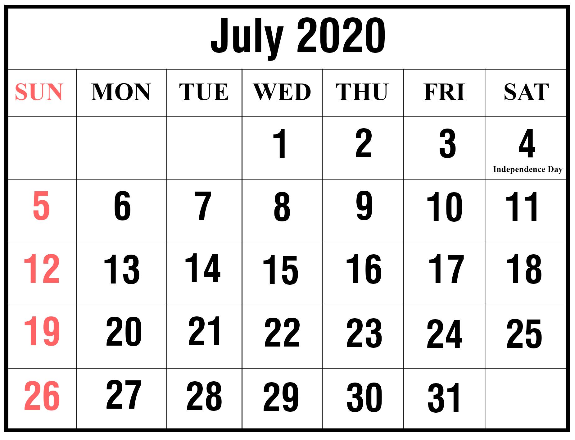 July Printable Calendar 2020