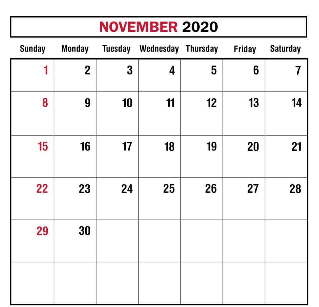 Monthly November 2020 Calendar