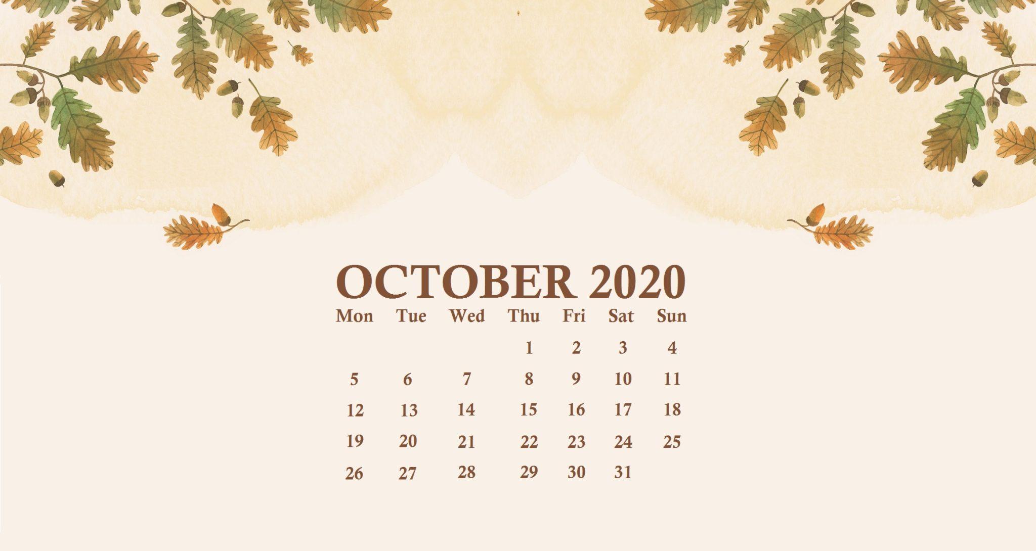 October 2020 Calendar Wallpaper