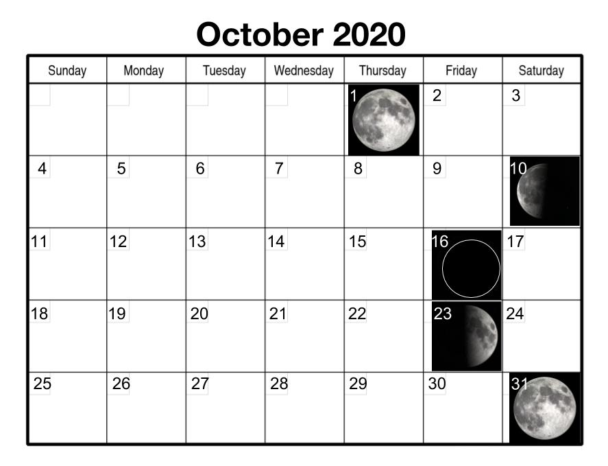 October 2020 Moon Phases Calendar