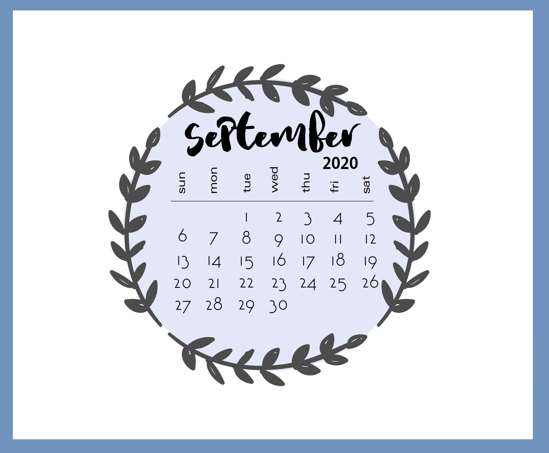 September 2020 Calendar Colorful Date Sheet