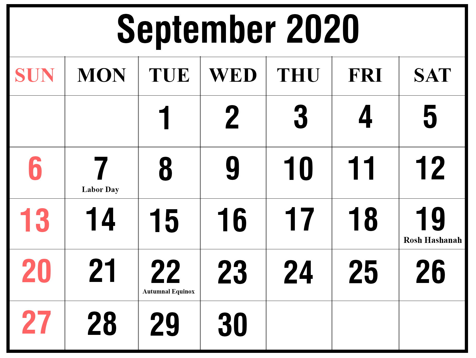 September 2020 Holidays Calendar Template