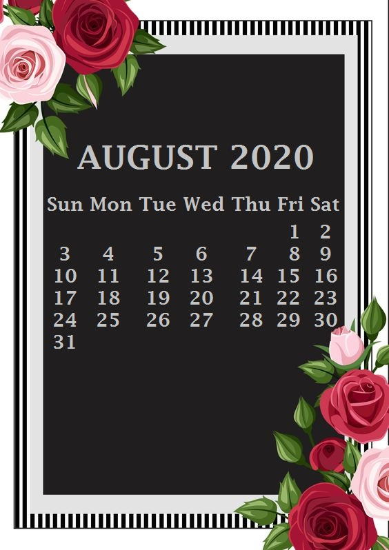 iPhone August 2020 Calendar Wallpaper