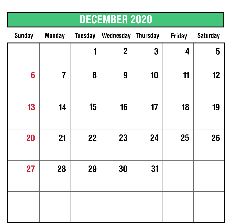 2020 Monthly Calendar December