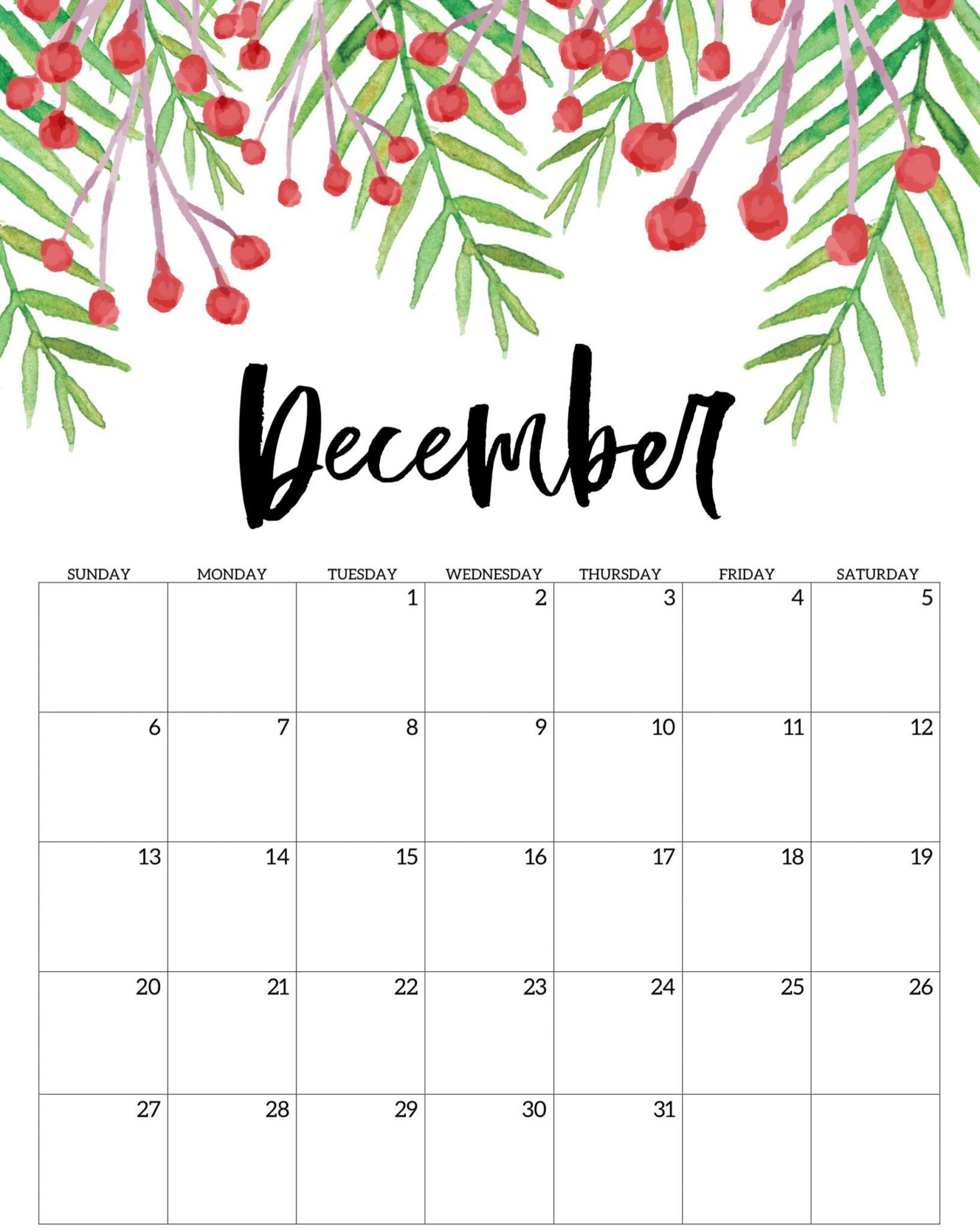 Cute December 2020 Calendar Floral