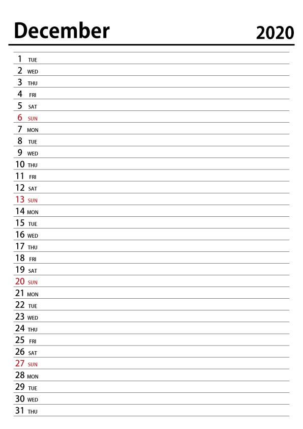 December Calendar Worksheet and Scheduler