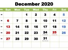 December Printable Calendar 2020